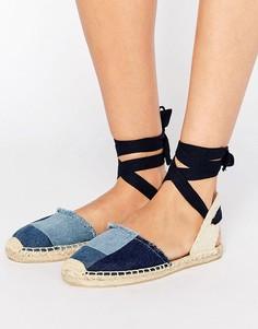Туфли на плоской подошве с джинсовой отделкой пэчворк Soludos - Темно-синий
