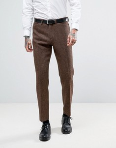 Узкие брюки из шотландского твида из 100% шерсти в клетку ASOS - Коричневый