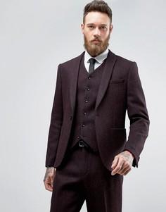 Твидовый узкий пиджак в елочку из 100% шерсти ASOS - Красный