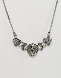Броское ожерелье с камнем DesignB Mystic - Серебряный