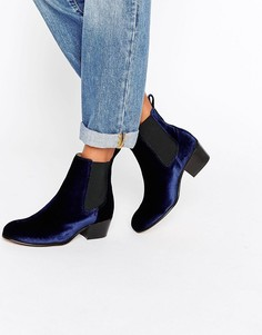Темно-синие бархатные ботинки челси Selected Femme London - Темно-синий