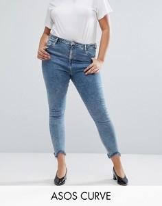 Выбеленные джинсы скинни с завышенной талией и необработанной кромкой ASOS CURVE - Синий