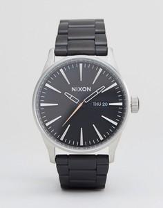 Черные наручные часы из матовой стали Nixon Sentry SS - Черный