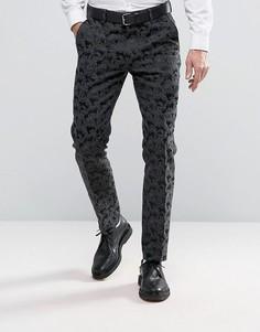 Черные строгие брюки скинни с жаккардовой отделкой ASOS - Черный