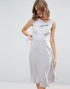 Атласное платье миди в стиле 40-х ASOS WEDDING - Синий