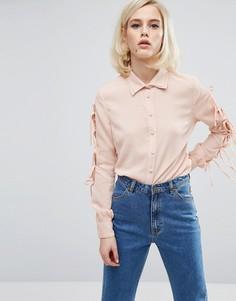 Рубашка с двойным воротником и бантиками на рукавах Lost Ink - Розовый
