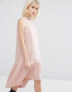 Платье в клетку с заниженной талией Lost Ink - Розовый