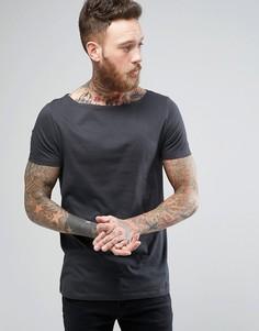 Черная футболка с вырезом лодочкой ASOS - Черный