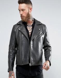 Черная байкерская куртка из кожзаменителя ASOS - Черный