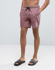 Бордовые шорты для плавания средней длины с эффектом кислотной стирки ASOS - Красный