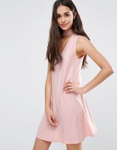 Свободное платье с высоким воротом Daisy Street - Бежевый