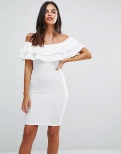 Облегающее платье со спущенными плечами AX Paris - Кремовый