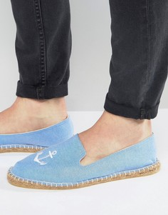 Синие эспадрильи с вышивкой якорей ASOS - Синий