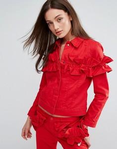 Джинсовая куртка с оборкой J Brand x Simone Rocha - Красный