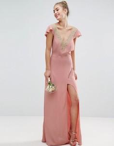 Платье макси с кружевной аппликацией ASOS WEDDING - Розовый