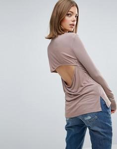 Топ в рубчик с драпированной спиной ASOS - Розовый