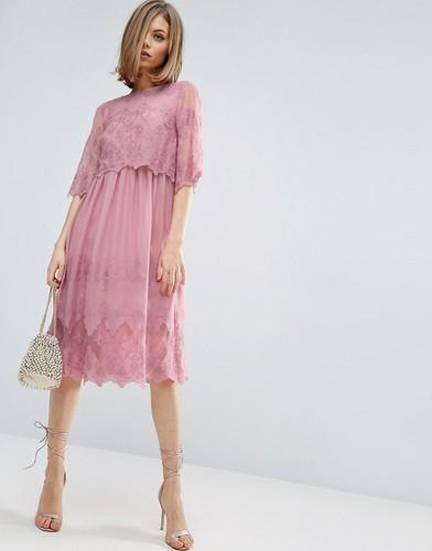 Двухслойное платье с вышивкой ASOS PREMIUM - Розовый