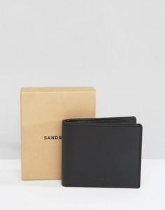 Черный кожаный кошелек Sandqvist Bill - Черный