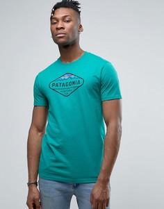 Бирюзовая меланжевая футболка с логотипом Patagonia Fitz Roy - Синий