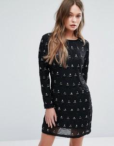Цельнокройное платье с декоративной отделкой New Look Premium - Черный