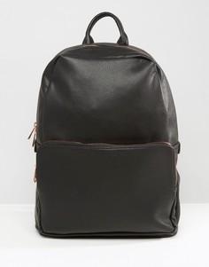Черный рюкзак из искусственной кожи с золотисто-розовой молнией ASOS - Черный
