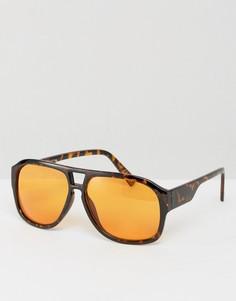 Солнцезащитные очки-авиаторы в черепаховой оправе с оранжевыми стеклами ASOS - Коричневый
