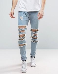 Рваные джинсы скинни Liquor & Poker - Синий