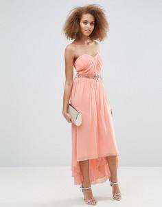 Платье-бандо макси с плиссировкой Little Mistress - Розовый