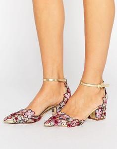 Туфли на каблуке с острым носком и вышивкой ASOS STRUT - Золотой