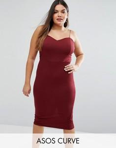 Облегающее платье миди ASOS CURVE - Красный