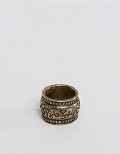 Золотистое кольцо с тисненой надписью ASOS - Золотой