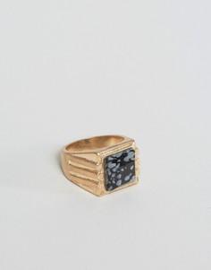 Золотистое кольцо-печатка с серым мраморным камнем ASOS - Золотой