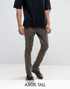 Супероблегающие брюки цвета хаки с карманами карго на молнии ASOS TALL - Зеленый