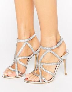 Сандалии на каблуке с декорированной решеткой из ремешков Faith Lohan - Серебряный