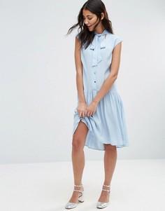 Платье с пуговицами и горловиной на завязке Closet - Синий