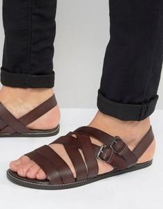 Бордовые кожаные сандалии с пряжками ASOS - Красный