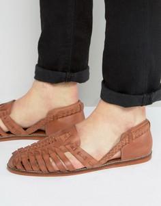 Светло-коричневые кожаные плетеные сандалии ASOS - Рыжий