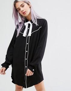 Платье-рубашка с воротником в ковбойском стиле и надписью Dead Inside Lazy Oaf - Черный