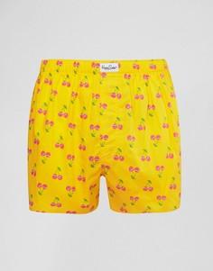 Тканые боксеры с вишенками Happy Socks - Желтый