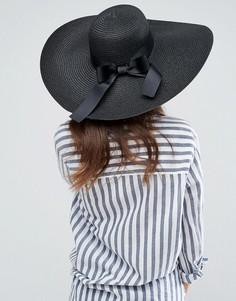 Соломенная шляпа с широкими полями ASOS - Черный