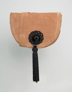 Замшевая сумка через плечо с кисточкой Park Lane - Рыжий