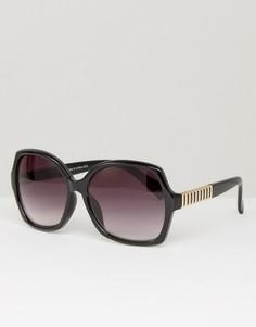 Квадратные солнцезащитные очки в стиле oversize с металлическими дужками Southbeach - Черный