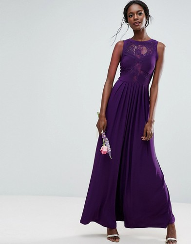 Платье макси с кружевным топом и трикотажной плиссированной юбкой ASOS WEDDING - Фиолетовый