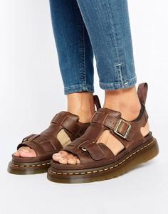 Светло-коричневые кожаные сандалии с T-образными ремешками Dr Martens Hayden Grunge - Рыжий
