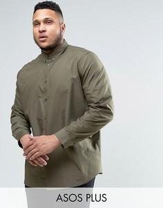 Рубашка классического кроя с воротником на пуговицах ASOS PLUS - Зеленый