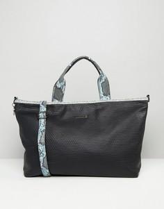 Фактурная дорожная сумка с отделкой под змеиную кожу Silvian Heach - Черный
