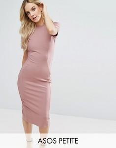 Облегающее платье миди в рубчик ASOS PETITE - Бежевый