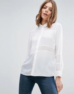 Блузка с плотными и прозрачными вставками ASOS - Белый