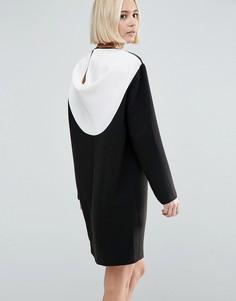 Цельнокройное платье колор блок с драпировкой сзади ASOS - Мульти
