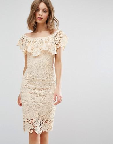 Платье миди с открытыми плечами Paper Dolls - Кремовый